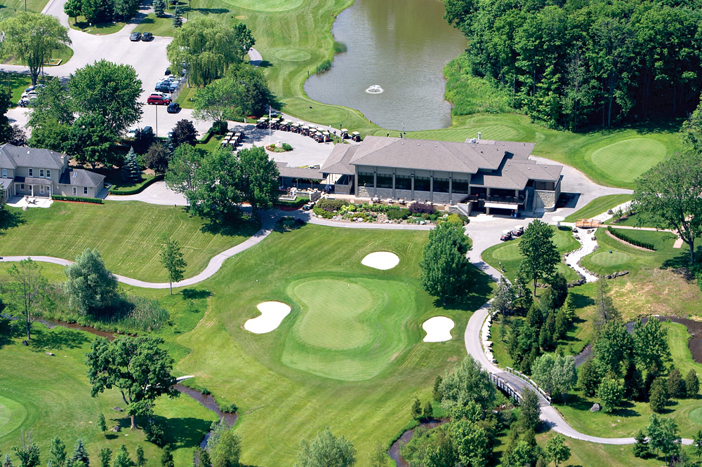 Clubhouse from above - Crosswinds Golf & Country Club, Burlington, Ontario