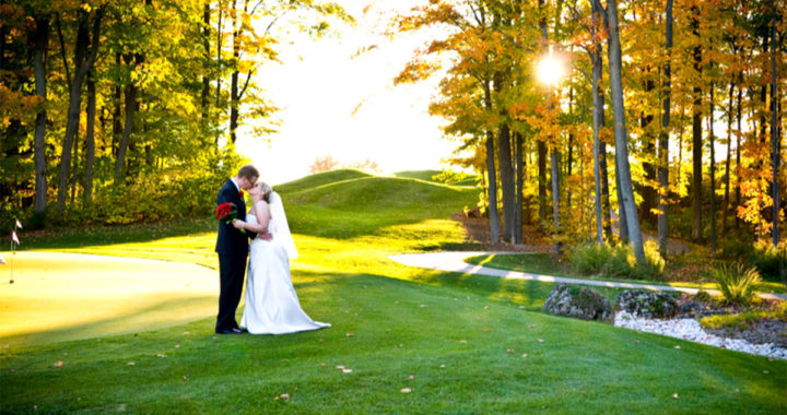 A wedding venue in Milton and Burlington creates moments like these – a bride and groom kiss.
