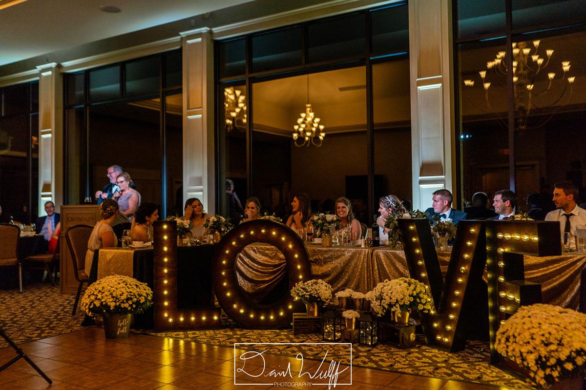 Wedding head table at Crosswinds reception in Burlington
